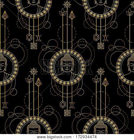 Seamless pattern with Gold Buddha head with abstract elements. Sign for tattoo, textile print, mascots and amulets on black background.