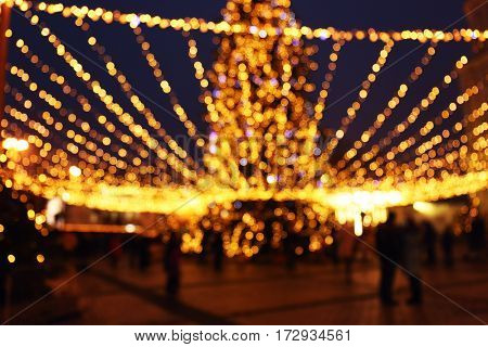 Blurred view of Christmas market