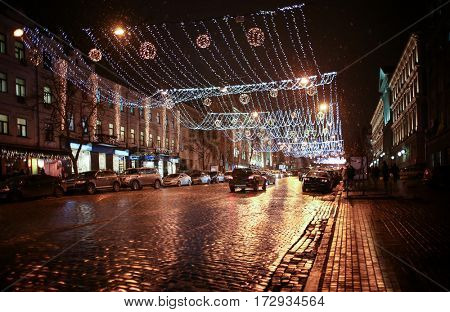 Decorated city at Christmas night