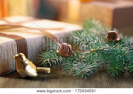 Christmas gift box and decoration on table, closeup