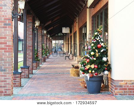 View of street shops decorated for Christmas