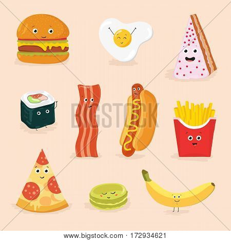 Face icon pizza cake scrambled eggs bacon banana burger hot dog roll french fries. Funny food cartoon characters isolated vector illustration