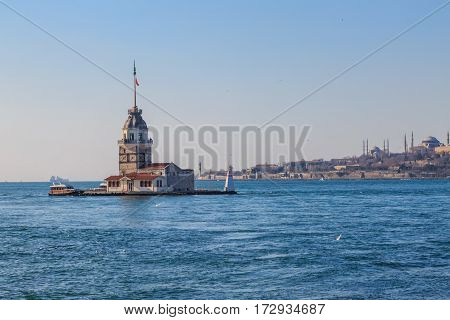 Maiden tower and eminonu background with clear sky