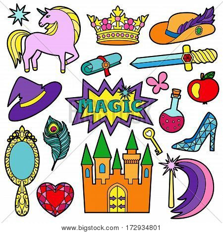 Fashion Patch Set with magic and fairy tale objects isolated on white background. Pin badges set. Stickers collection. Colorful appliques for denim or clothes.
