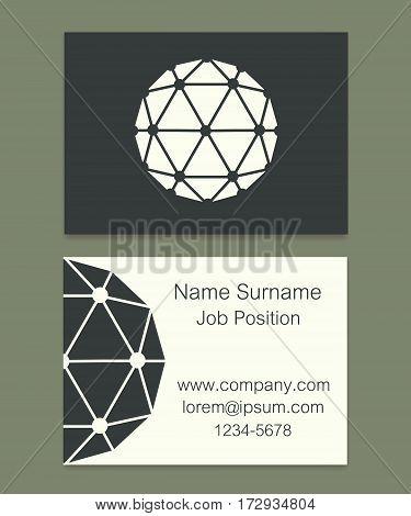 Vector Polyhedron Flat Design Business Cards Illustration