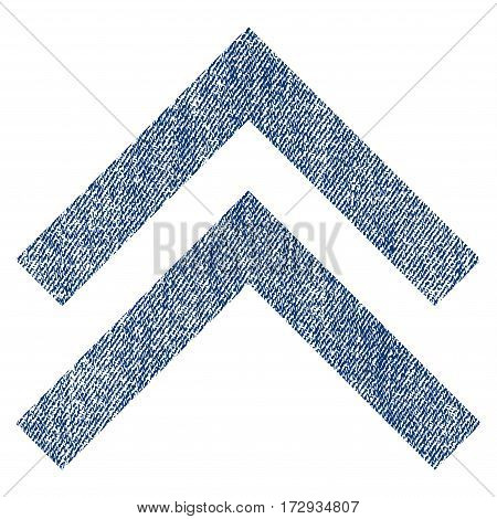 Shift Up vector textured icon for overlay watermark stamps. Blue jeans fabric vectorized texture. Symbol with dust design. Blue ink rubber seal stamp with fiber textile structure.