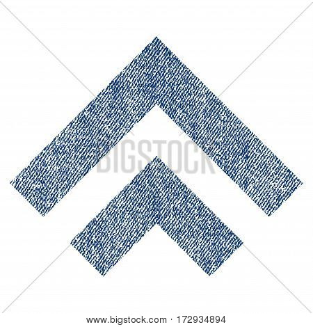 Shift Up vector textured icon for overlay watermark stamps. Blue jeans fabric vectorized texture. Symbol with dirty design. Blue ink rubber seal stamp with fiber textile structure.