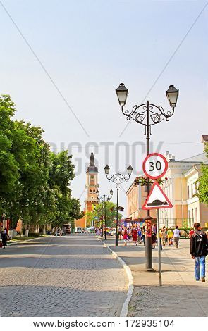 KAMIANETS-PODILSKYI, UKRAINE - MAY 21, 2011: The centre of Kamianets-Podilskyi city in the morning. Kamianets-Podilskyi was first mentioned in 1062 as a town of the Kievan Rus' state