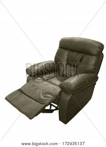 Recliner brown leather theater TV armchair isolated on white background