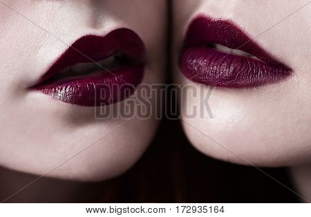 Female lips with burgundy maroon matte lipstick closeup. Macro photo lips. Girls lesbians. Red lips