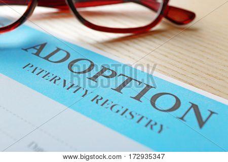 Adoption paternity registry, closeup