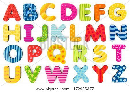 Colorful wood alphabet letters on a white background studio shot