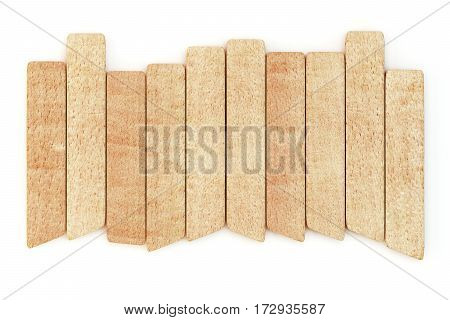 Bright wooden planks isolated on white background. 3d rendering