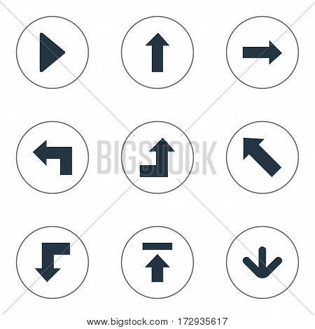 Set Of 9 Simple Arrows Icons. Can Be Found Such Elements As Upward Direction, Reduction, Pointer And Other.