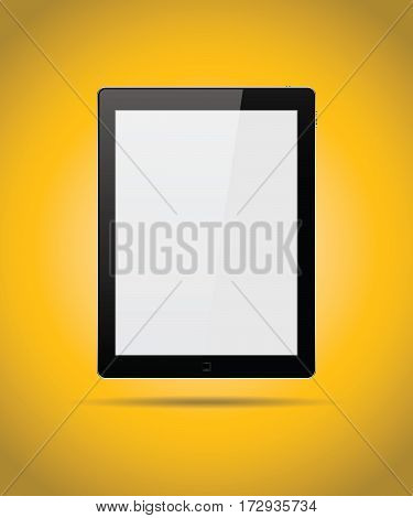Black tablet mock up isolated on yellow background vector design
