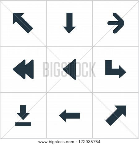 Set Of 9 Simple Cursor Icons. Can Be Found Such Elements As Left Direction, Indicator, Downwards Pointing And Other.