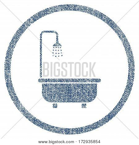 Shower Bath vector textured icon for overlay watermark stamps. Blue jeans fabric vectorized texture. Symbol with dirty design. Blue ink rubber seal stamp with fiber textile structure.