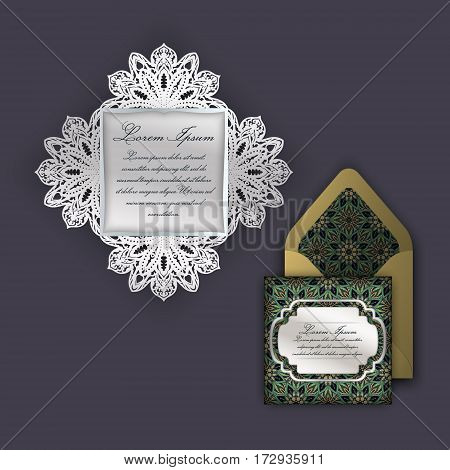 Wedding Invitation Or Greeting Card With Vintage Floral Ornament. Paper Lace Envelope Template, Mock