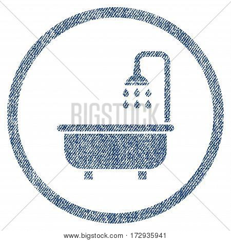 Shower Bath vector textured icon for overlay watermark stamps. Blue jeans fabric vectorized texture. Symbol with dust design. Blue ink rubber seal stamp with fiber textile structure.