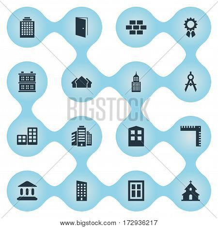 Set Of 16 Simple Architecture Icons. Can Be Found Such Elements As Gate, Block, Construction And Other.