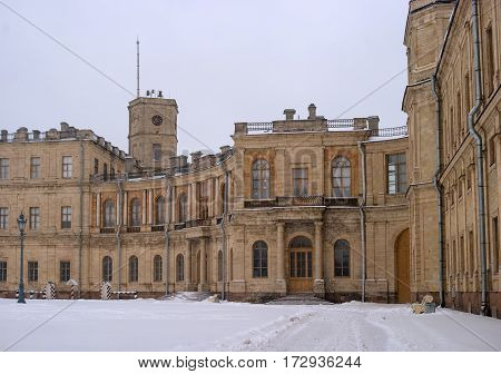 Gatchina Palace. Entrance to the right wing. At the clock tower is installed a flagpole for the imperial flag. Russia.