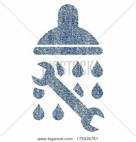 Shower Plumbing vector textured icon for overlay watermark stamps. Blue jeans fabric vectorized texture. Symbol with dirty design. Blue ink rubber seal stamp with fiber textile structure.