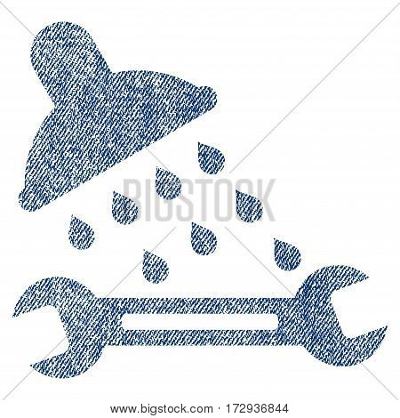 Shower Plumbing vector textured icon for overlay watermark stamps. Blue jeans fabric vectorized texture. Symbol with scratched design. Blue ink rubber seal stamp with fiber textile structure.