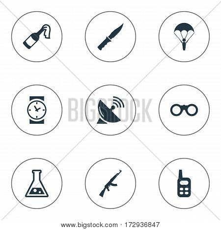 Set Of 9 Simple Army Icons. Can Be Found Such Elements As Watch, Chemistry, Signal Receiver And Other.