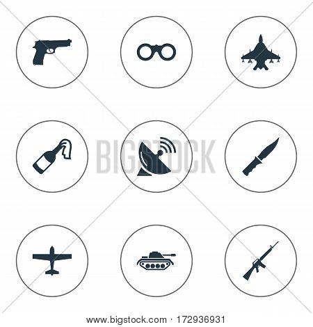 Set Of 9 Simple Military Icons. Can Be Found Such Elements As Field Glasses, Pistol, Heavy Weapon And Other.