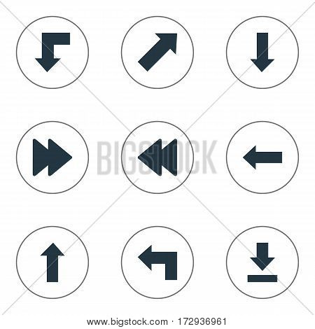 Set Of 9 Simple Indicator Icons. Can Be Found Such Elements As Let Down, Left Direction, Downwards Pointing And Other.