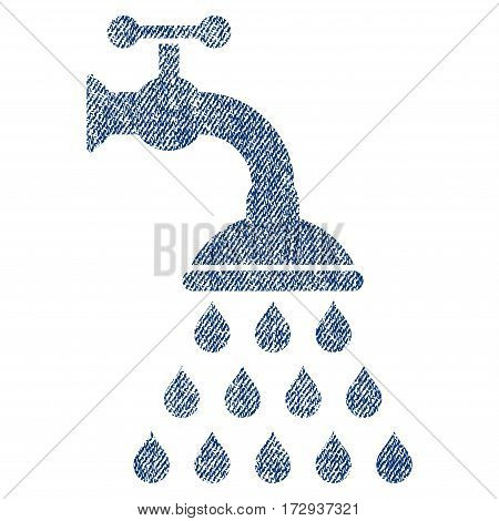 Shower Tap vector textured icon for overlay watermark stamps. Blue jeans fabric vectorized texture. Symbol with unclean design. Blue ink rubber seal stamp with fiber textile structure.