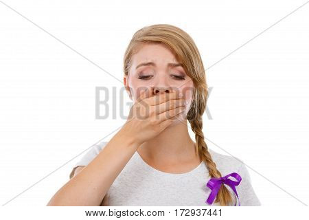 Sad Woman Covering Mouth With Hand