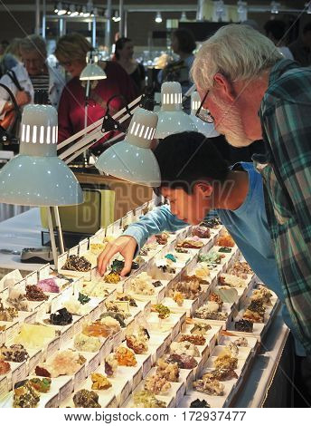 TUCSON, ARIZONA, FEBRUARY 12. The Tucson Convention Center on February 12, 2017, in Tucson, Arizona. A Boy and His Grandfather Shop for Minerals at the Tucson Gem and Mineral Show in Tucson, Arizona.