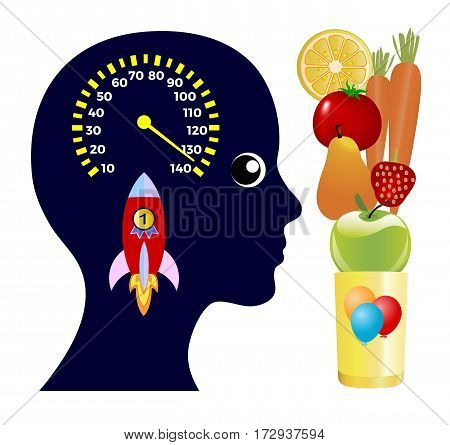 Effect of Energy Drinks. Woman taking Booster Fruit Smoothie to spark her brain power