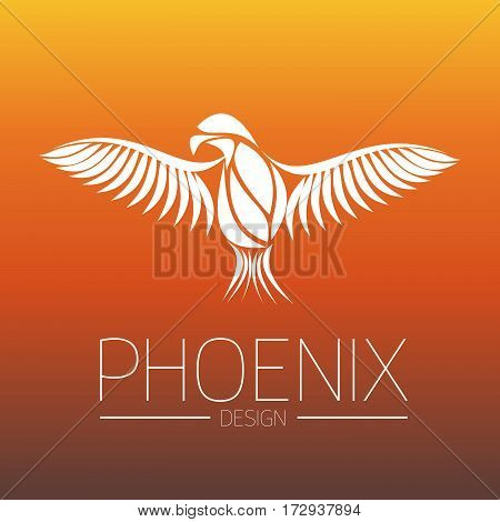 Flaming Phoenix Bird with wide spread wings in white on orange fire colors background. Symbol of reborn and regeneration. EPS10 vector illustration.