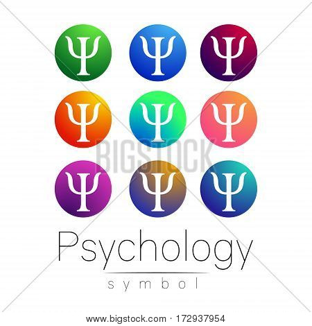 Modern Sign Set of Psychology. Creative style. Icon in vector. Bright color letter on white background. Symbol for web, print, card.