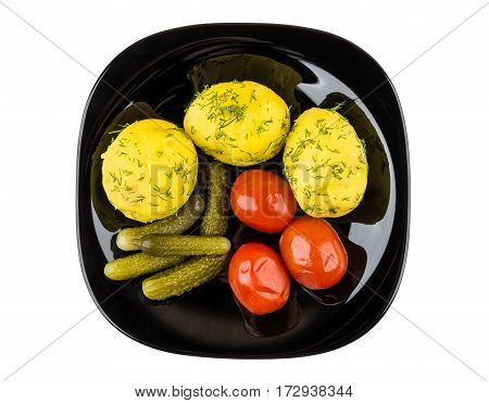 Baked Potatoes With Dill, Pickled Gherkins And Tomatoes On White