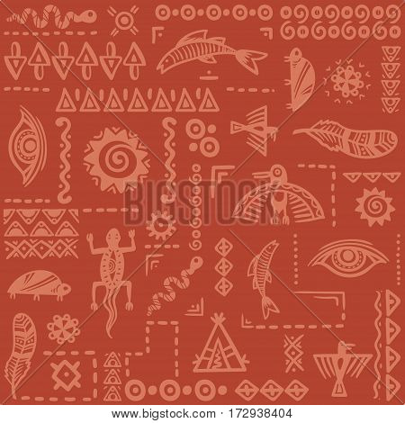 Native american ethnic pattern. Vector ornament. Seamless print for textile.