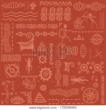 South African ethnic pattern. Vector ornament. Seamless print for textile.