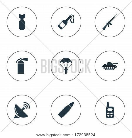 Set Of 9 Simple War Icons. Can Be Found Such Elements As Extinguisher, Ammunition, Molotov And Other.