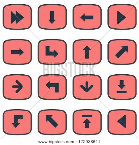 Set Of 16 Simple Pointer Icons. Can Be Found Such Elements As Pointer, Indicator, Advanced And Other.