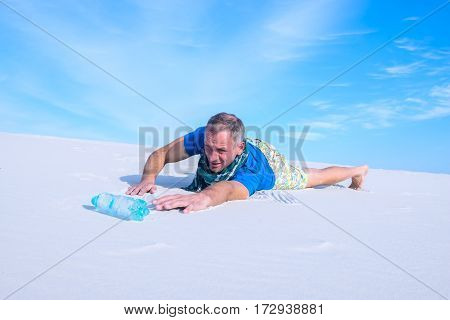 Man Suffering From Thirst Lost In The Desert