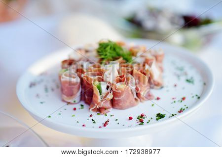 Delicious Ham Rolls With Vegetables Served On A Party Or Wedding Reception