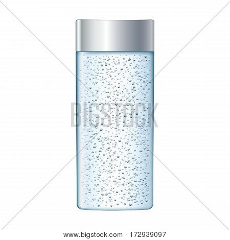 Ads skin toner. glass bottle with air bubbles for advertisement or magazine. 3D
