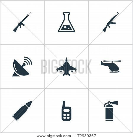 Set Of 9 Simple Military Icons. Can Be Found Such Elements As Walkies, Kalashnikov, Sky Force And Other.