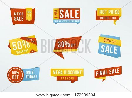 Collection advertising badges. Set of promotional labels with lettering: sale, discount.