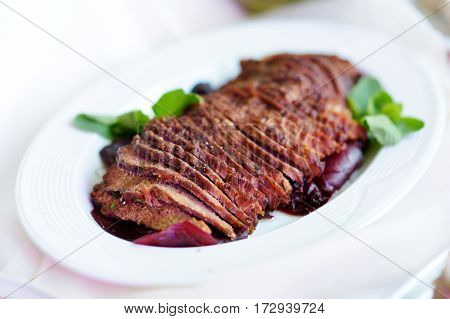 Delicious Sliced Beef Meat Loaf Served On A Party Or Wedding Reception
