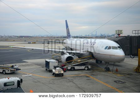 NEWARK, NJ, USA - DEC. 25, 2012: United Airlines Airbus 319 at Newark Liberty International Airport, Newark, New Jersey, USA.