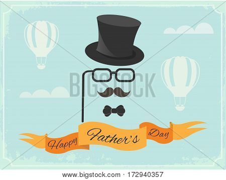 Happy Father's Day Poster greetings in retro style.