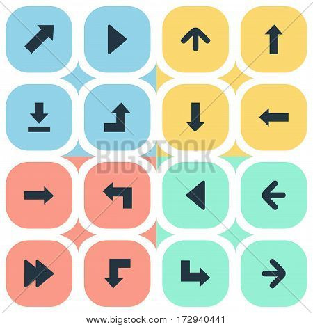 Set Of 16 Simple Indicator Icons. Can Be Found Such Elements As Downwards Pointing, Reduction, Pointer And Other.